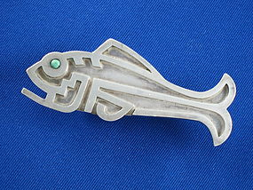 1930 Fred Davis Silver & Turquoise Fish Pin or Brooch