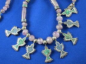 Vintage Silver Amethyst, Malachite Hummingbird Necklace