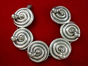 Rare 1940's HUBERT HARMON Silver Cascabel Bracelet