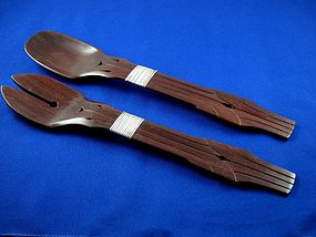 WILLIAM SPRATLING ROSEWOOD & SILVER SALAD SET