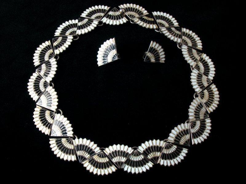 MARGOT DE TAXCO SILVER, BLACK & WHITE ENAMEL SET