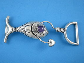 HUBERT HARMON BUCKLE AMETHYST SILVER FISH,HOOK 6 1/2""