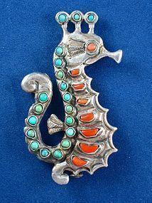 MATILDE POULAT MATL SEAHORSE PIN Silver 1930's