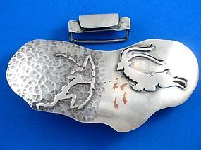 "ANTONIO PINEDA BELT BUCKLE STERLING SILVER 5 1/2"" LONG"