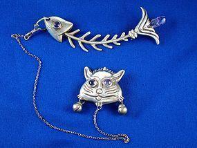 HUBERT HARMON  SILVER AMETHYST CAT & FISH PINS