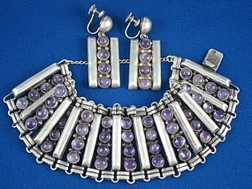 FRED DAVIS BRACELET & EARRINGS SILVER & AMETHYST