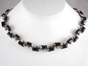 ANTONIO PINEDA SILVER & ONYX MODERNIST NECKLACE