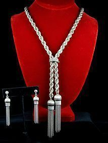 ALFREDO VILLASANA SILVER LARIAT NECKLACE & EARRINGS