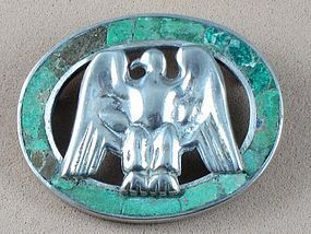 WILLIAM SPRATLING SILVER & AZUR MALACHITE EAGLE PIN