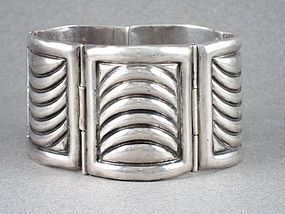 "FRED DAVIS STERLING SILVER ART DECO PANEL BRACELET 1 5/8"" WIDE"
