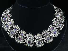 MATILDE POULAT MATL SILVER, TURQUOISE, AMETHYST NECKLACE