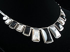 1930's FRED DAVIS SILVER & OBSIDIAN DECO NECKLACE