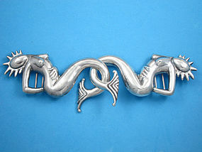 HUBERT HARMON VINTAGE SILVER MERMAID BELT BUCKLE