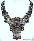 MATILDE POULAT MATL SIVLER, TURQUOISE, AMETHYST, CORAL NECKLACE