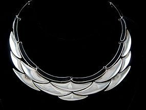 ANTONIO PINEDA 970 SILVER & ONYX MODERNIST NECKLACE