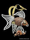 LOS CASTILLO ANGELFISH PIN SILVER & COPPER
