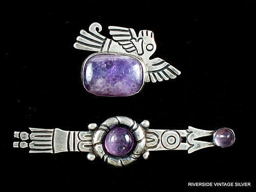 WILLIAM SPRATLING AMETHYST & SILVER BROOCHES