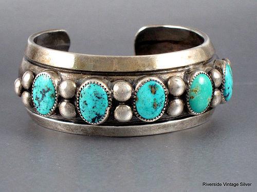 Vintage Frank Patania Sr. Bracelet Turquoise & Silver 1940's