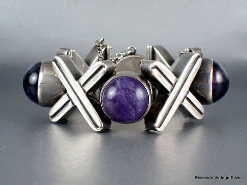 ANTONIO Pineda X & O Amethyst & Silver Bracelet