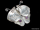 WILLIAM SPRATLING Moth / Butterfly Pin Silver & Amethyst