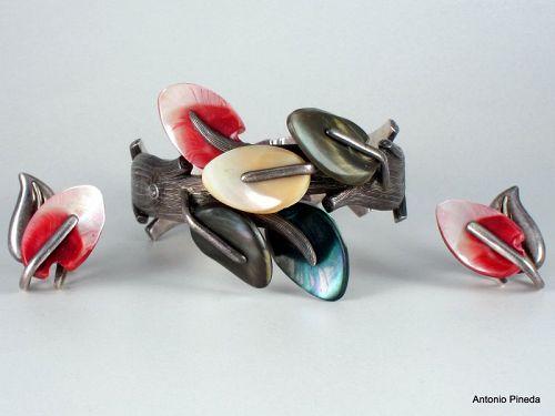 ANTONIO Pineda Abalone Shell & Silver Clamper Bracelet & Earrings