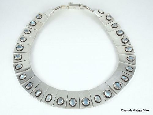 ANTONIO PINEDA Necklace MOONSTONE & 970 SILVER RING