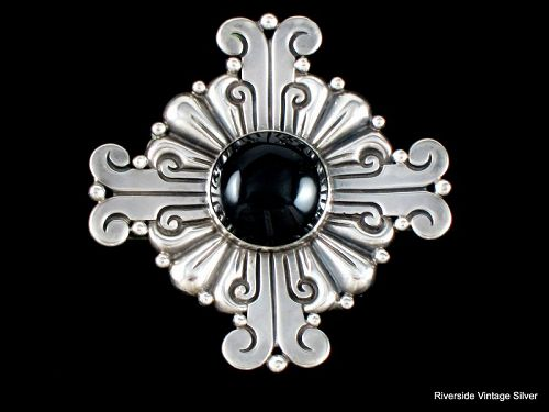 Hector Aguilar Brooch Onyx & 990 Sterling Silver