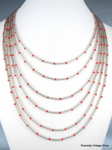 "William SPRATLING Coral Bead & Silver 120"" Long Necklace"