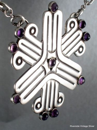 William SPRATLING Necklace Amethyst & Silver Pendant or Pin 1940's