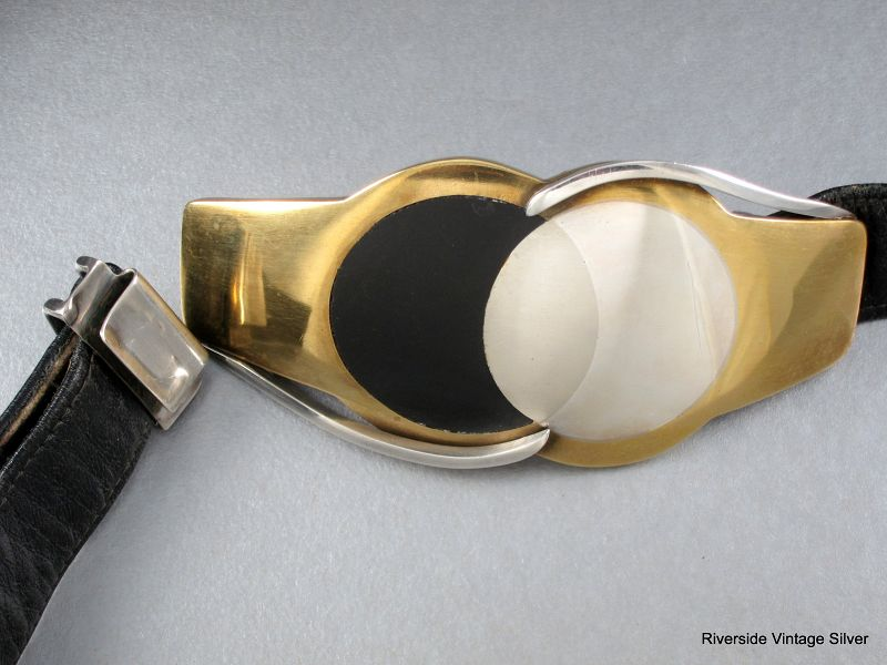 ANTONIO Pineda 970 Silver Buckle & Leather Belt