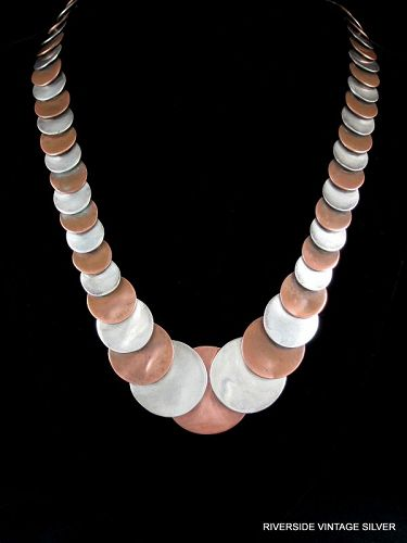 "Vintage Hector AGUILAR Necklace 940 Silver & Copper 27"" Long"