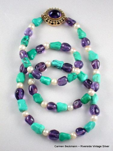 Carmen Beckmann 14K Necklace  Amethyst, Pearl, Turquoise