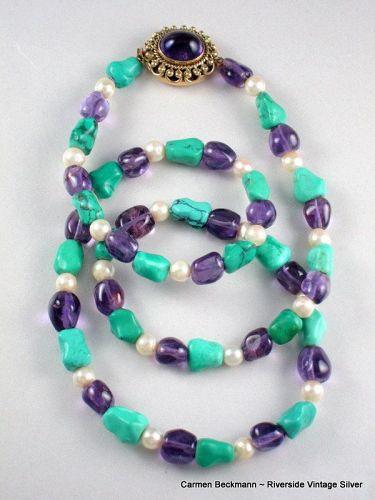 Carmen Beckmann 14K Necklace  Amethyst, Pearl, Turquoise