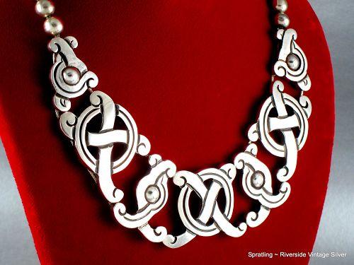 William Spratling Necklace ~ Silver ~ Pre-Columbian,  Mayan Symbols