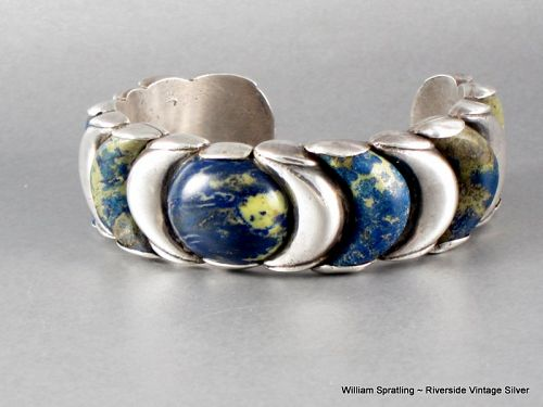 William Spratling Crescent Cuff Bracelet Chrysacolla & Sterling Silver
