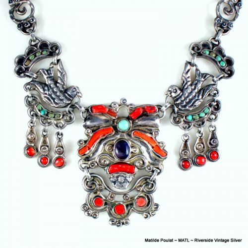Matilde Poulat  MATL  Necklace Silver, Coral, Turquoise & Amethyst