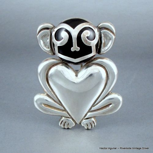 Hector Aguilar Monkey Pin ~ 940 Silver & Obsidian 1940's