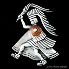 Los Castillo Aztec Torch Bearer Warrior Pin ~ Sterling Silver & Copper