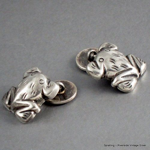 William Spratling Frog Cufflinks Sterling Silver Vintage 1940's