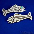 Pair Fred Davis Pins Turquoise & Sterling Silver