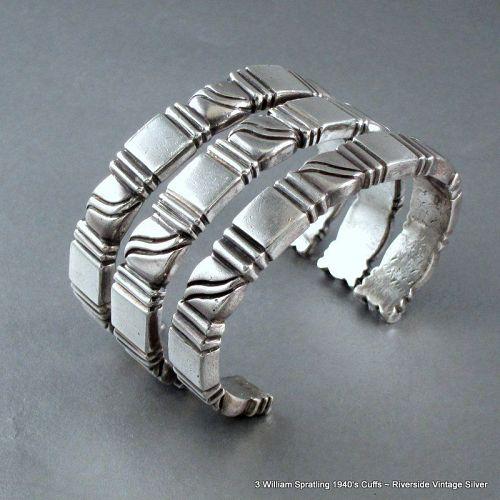3 William SPRATLING Stackable Cuff Bracelets ~ 1940's