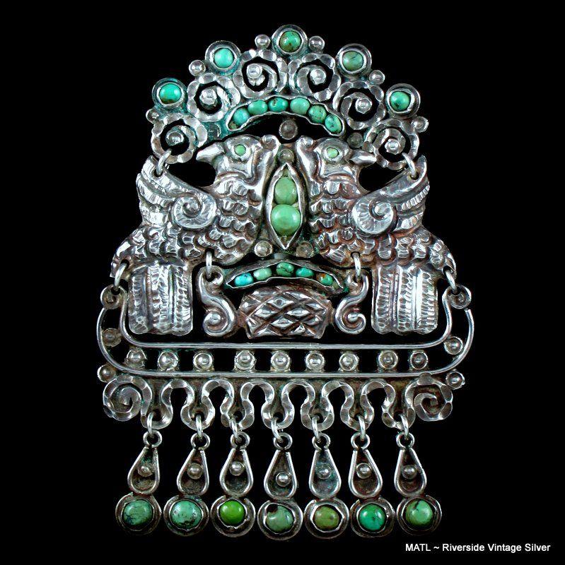 Matilde Poulat Matl Turquoise & Silver Quetzal Brooch