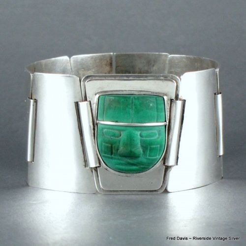 Fred Davis Malachite and Sterling Silver Bracelet