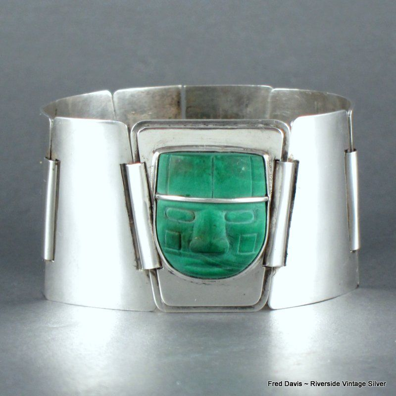 Fred Davis Malachite and Sterling Silver Bracelet