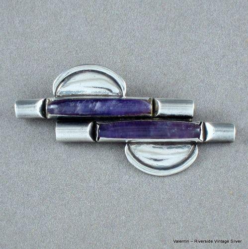 Valentin Vidauretta Amethyst & Sterling Silver Pin