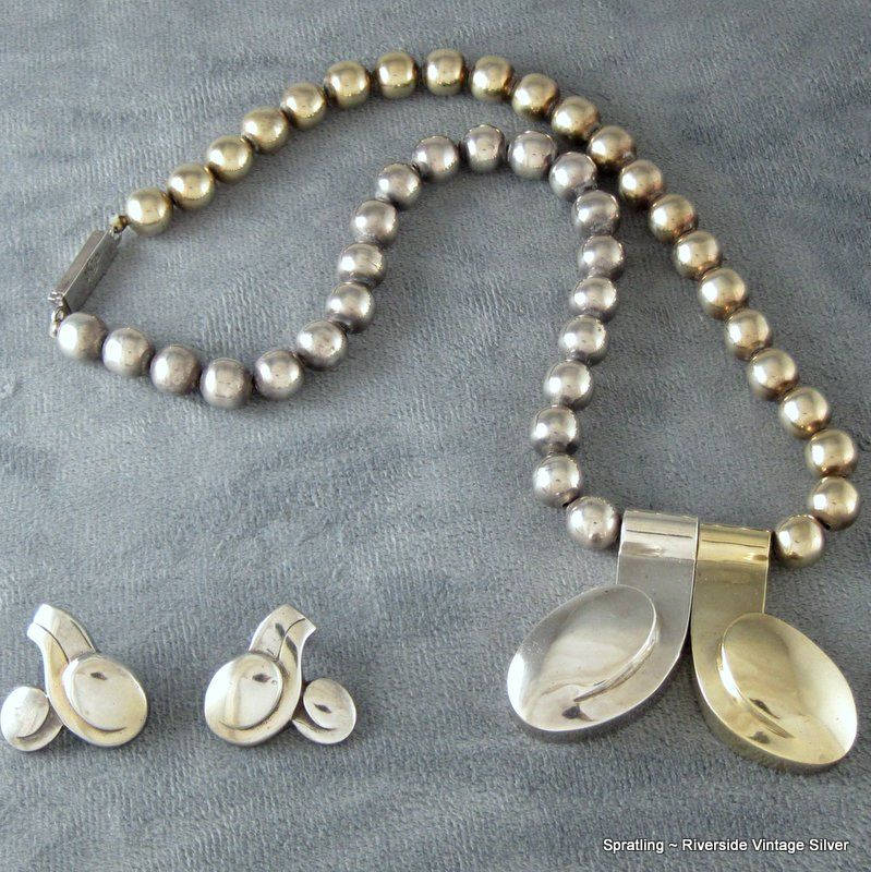 """William Spratling """"Tongues Of Fire"""" Necklace & Earrings"""