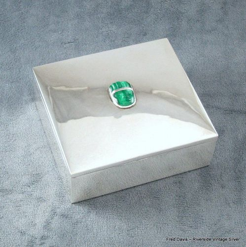 Fred Davis Box Malachite and Sterling Silver c.1930's