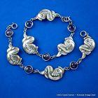 Pair ~ Hubert Harmon Amethyst & Sterling Silver Bracelets 1940's