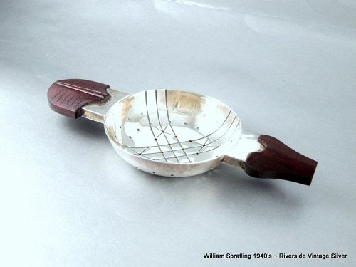 William Spratling Tea Strainer Sterling Silver and Rose wood 1940's