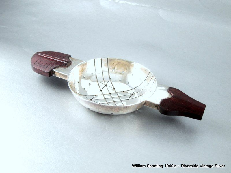 William Spratling Tea Strainer Sterling Silver and Rose wood 1940's